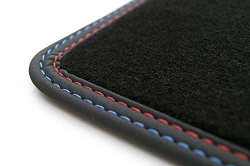 kh Teile Kofferraummatte/Velours Automatte Premium Qualität Stoffmatte schwarz Nubukleder Einfassung Doppelnaht rot/blau