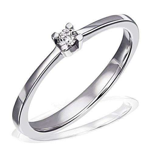 Goldmaid Damen-Ring Trauring, Freundschaftsring, Verlobung 925 Silber rhodiniert Diamant (0.05 ct) Brillantschliff weiß Gr. 52 (16.6) Verlobungsring Diamantring