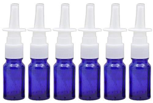 VASANA Leere Glas-Nasenspray-Flaschen mit feinem Nebel, für Make-up, Wasser, Reisebehälter für ätherische Öle, medizinische kolloidale Silbersalzlösung, 10 ml, 6 Stück, blau (Blau) - YPK66436BLUE