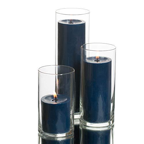 Richland Set of 3 Glass Eastland Cylinder Vases and 3 Navy Blue Pillar Candles 3'
