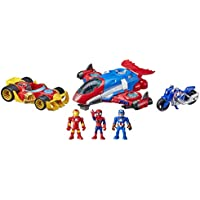 Super Hero Adventures Marvel Figure and Jetquarters Vehicle Multipack (3 Action Figures and Vehicles, 5