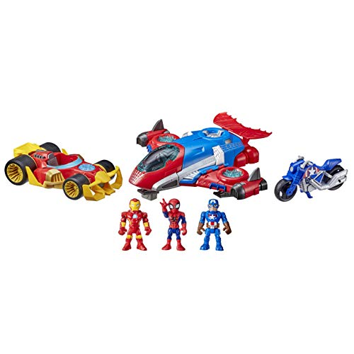 Super Hero Adventures Marvel Figure and Jetquarters Vehicle Multipack, 3 Action Figures and 3 Vehicles, 5-Inch Toys for Kids Ages 3 and Up (Amazon Exclusive)