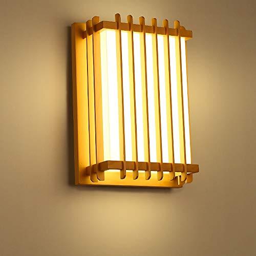 KMYX Pasillo de madera maciza de estilo japonés Balcone Pasdoio Lámpara de pared plafón dormitorio Lámpara de mesilla de noche PVC imitación piel de oveja Pantalla LED Lámpara de espejo