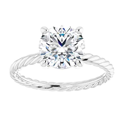 Gopi Gems Twisted Wire Engagement Ring, Round Cut 2.50CT, VVS1 Clarity, Colorless Moissanite Ring, 925 Sterling Silver, Valentine's Gift, Wedding Ring, Perfact for Gift Or As You Want (V)
