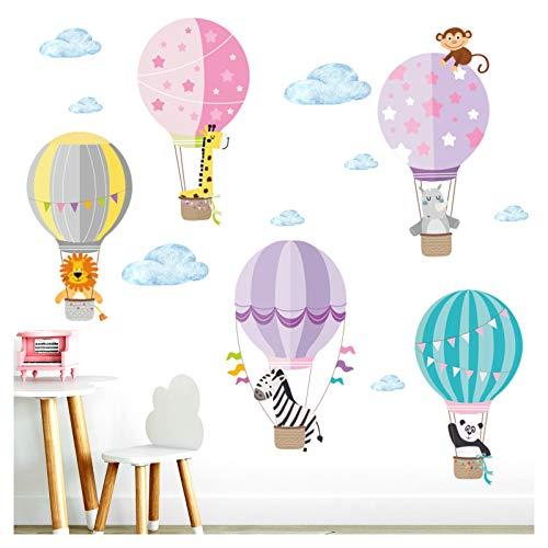 Little Deco Kinderzimmer Mädchen Aufkleber Zoo Tiere im Ballon I 102 x 72 cm (BxH) I Zebra Wandtattoo Heißluftballon Tiere Deko Sticker DL207-32