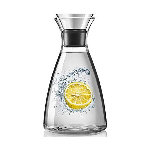 Glazen kan, 34 Oz. Borosilicaat karaf met deksel, druppelvrije glazen kan, geschikt voor koud/warm water, ijsthee en sapdrankjes