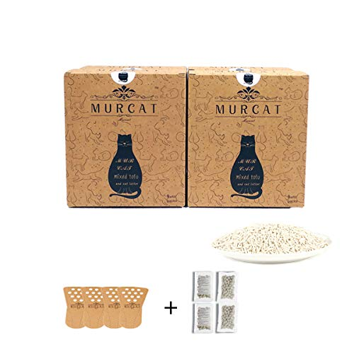 MURCAT Natural Tofu Cat Litter, Dust Free Super Clumping Plant Kitty Litter for Best Home Odor Control, Super Absorbing, Flushable, Low Tracking, Biodegradable, 6lbs