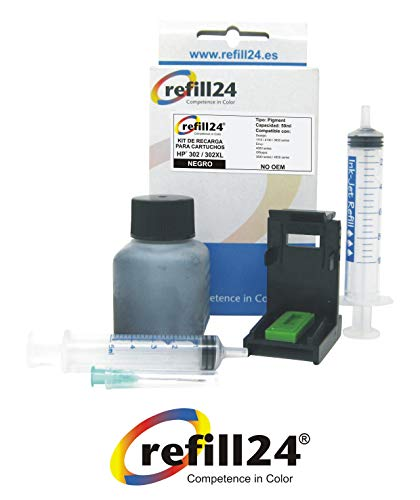 Kit de Recarga para Cartuchos de Tinta HP 302, 302 XL Negro, Incluye Clip y Accesorios + 50 ML Tinta