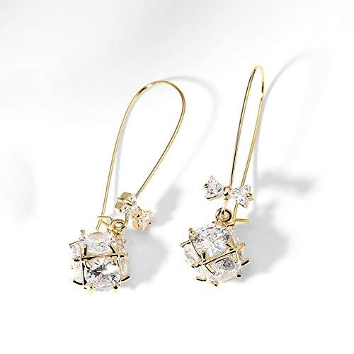 Oorbellen met kleine bolletjes, oorstekers voor dames, 925 zilveren pinnen, verjaardagscadeau, legering + zirkoon 4,2 x 1,3 cm