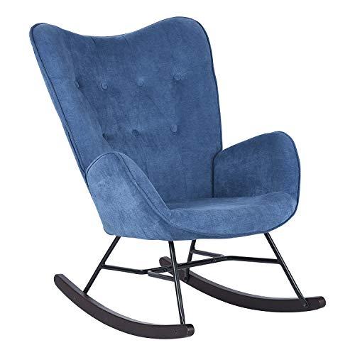 MEUBLE COSY EPPING KD BLUE Sedia a dondolo per il tempo libero e il riposo, tessuto blu per il salotto, sala da pranzo, piedi in legno e metallo, 68x87x98cm