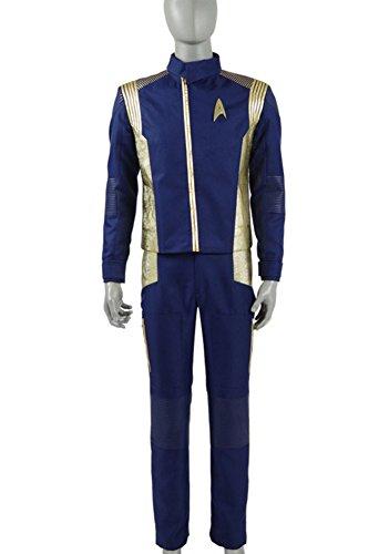 Herren Blau Gold Anzüge Shirt Hose Abzeichen Halloween Cosplay Kostüme (XXXL, Blau)