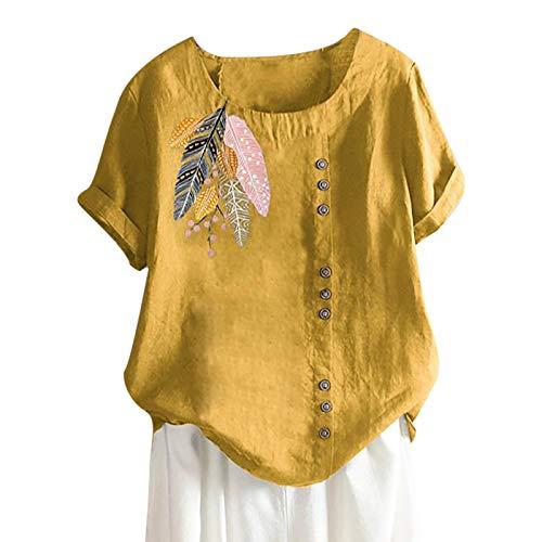 Tuniken Leinen Kurzarm Tee Tops Tshirt Bluse Casual Rundhals Shirt Schmetterling Druck T-Shirt Schwangerschafts Tshirt Leinen T Shirt Gelb #64 XL