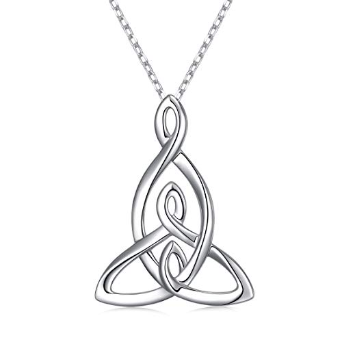 925 Sterling Silver Jewelry Mom Children Pendant Mother Daughters Celtic Knot Necklace for Women Birthday Gift, 16 Inch + 2 Inch (Mother and Two Children Knot Necklace)