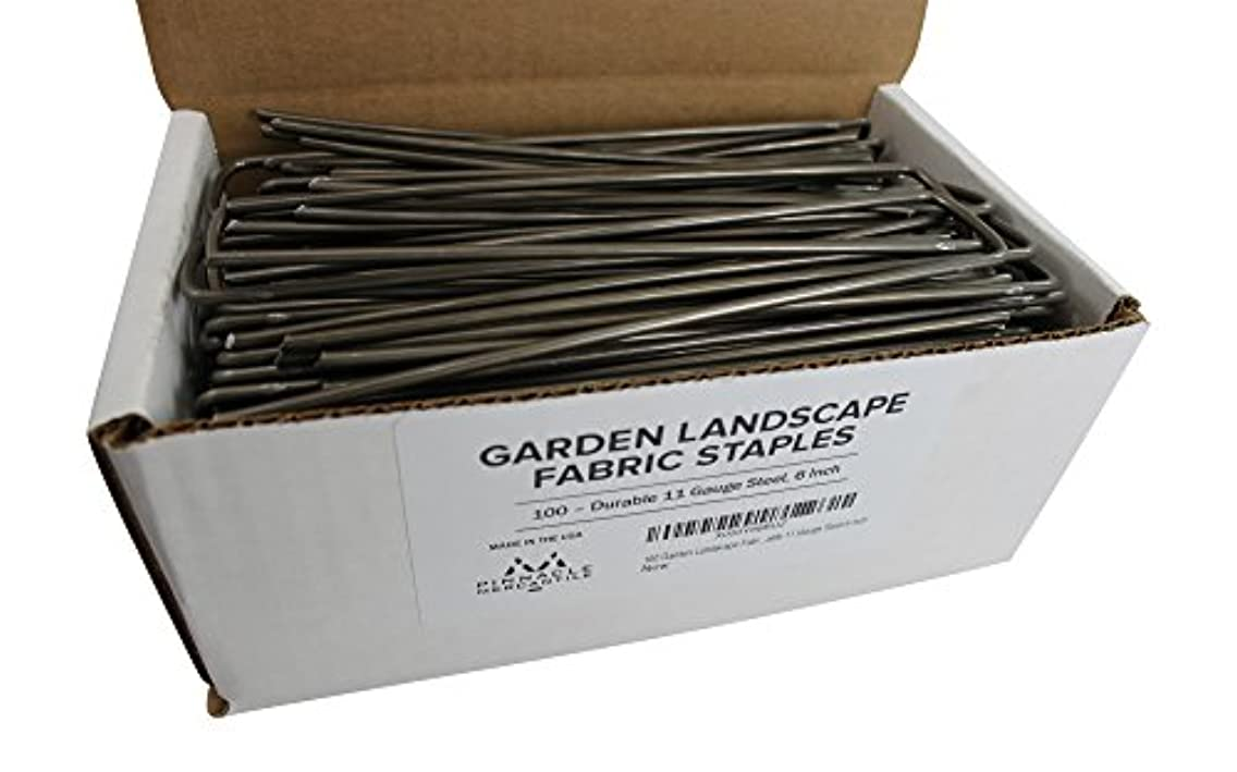 Pinnacle Mercantile 100 Garden Landscape Staples Fabric Anchor Stakes Strong 11 Gauge Steel 6 Inch Made in USA