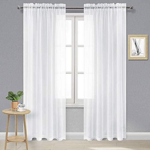 DWCN White Sheer Curtains Semi Transparent Voile Rod Pocket Curtains for Bedroom and Living Room, 52 x 84 inches Long, Set of 2 Panels