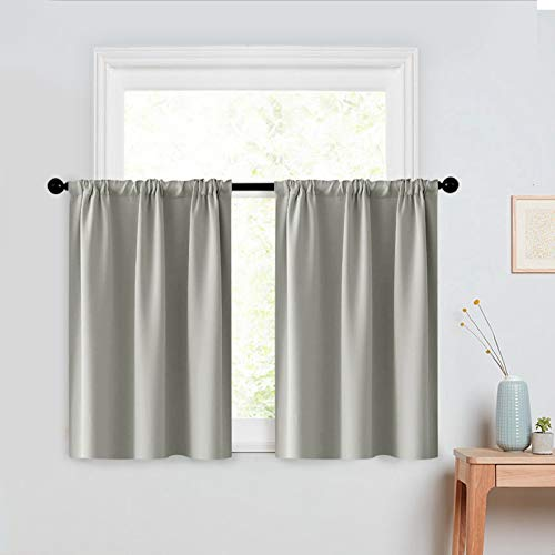 MRTREES Kitchen Tier Curtains 24 inches Long Grey Short Cafe Curtains Room Darkening Small Bathroom Window Curtain Tiers Half Window Curtains Rod Pocket 2 Panels Gray