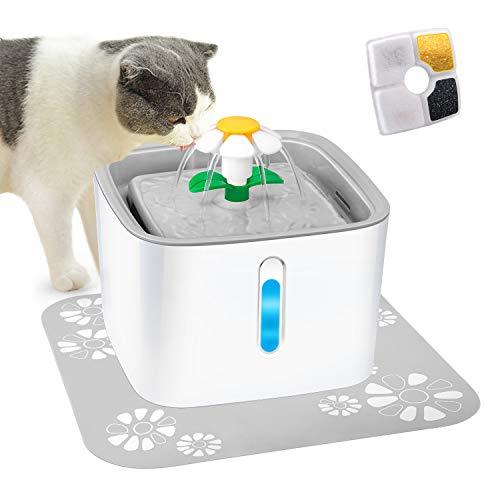 LED Katzentrinkbrunnem 2.5L Wasserspender mit LED-Wasserstandsfenster für Hunde und Katzen, Springbrunnen Pumpe Trinkbrunnen für Katze. Katzenbrunnen für Katzen mit 3 Modes Drinking Fountain.