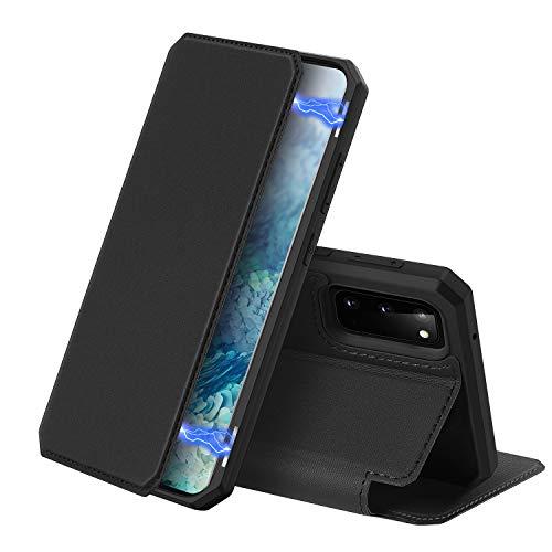 DUX DUCIS Hülle für Samsung Galaxy S20, Premium Leder Magnetic Closure Flip Schutzhülle handyhülle für Samsung Galaxy S20 Tasche (Schwarz)