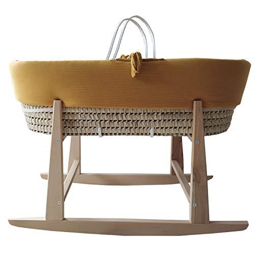 Moisés bebé de palma para recién nacido. Capazo mimbre, cesta bebé con vestiduras y balancín. Capazo bebé textiles (Mostaza Bambula)