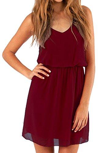 Cassiecy Damen Sommerkleid Ärmellos V-Ausschnitt Chiffon Casual doppel Schulterrieme Elegant Minikleid Partykleid (Weinrot XXL)