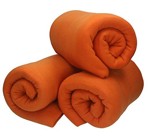 Betz 3 Stück Fleecedecke Kuscheldecke Wohndecke in Größe 130x170 cm Qualität 220 g/m Farbe orange