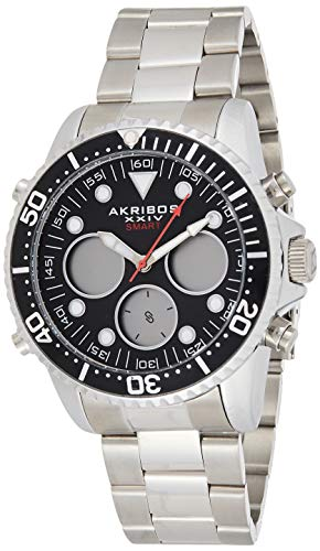 Akribos Multifunction High Tech Diver Smartwatch - Diver-Style Watch with Health Stats Tracking - 3 Digital Subdials on Stainless Steel Bracelet- AK1094 (Black Dial Silver Band Blue and Red Bezel)