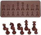 BESTONZON Stampini muffa silicone a forma di scacchi per Biscotti Cioccolatini Ghiaccio in Marrone