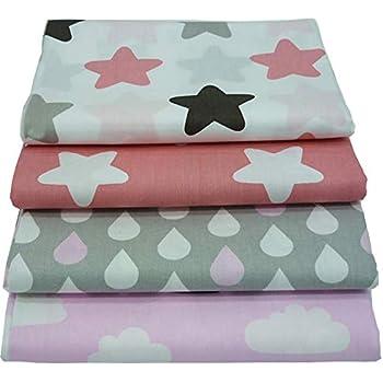 4 piezas 40cm * 50cm Tela de algodón impresa con estrellas y nubes ...