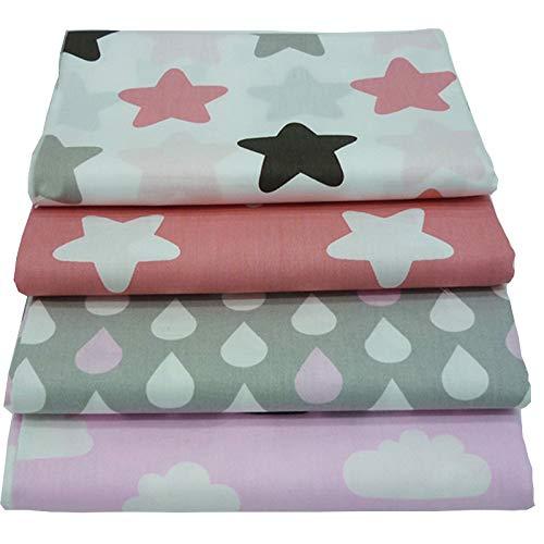 4 Stück 40cm * 50cm Sterne, Wolken und Regentropfen gedruckt Baumwollgewebe,patchwork stoffe,baumwollstoff meterware,stoffe patchwork stoffpaket