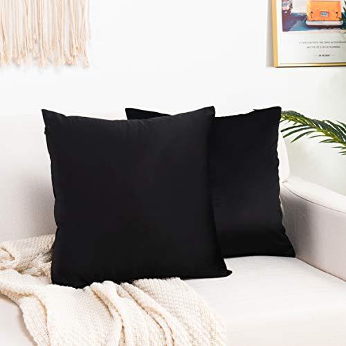 Elegant Comfort Pack of 2, Velvet Soft Solid Decorative Square Throw Pillow Covers Set Cushion Case for Sofa Bedroom Car, 20 x 20, Black