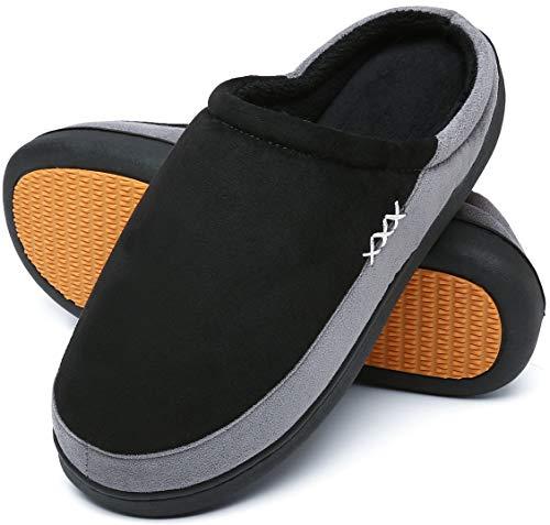 Mishansha Zapatillas de Casa Hombre Cálido Invierno Pantuflas Suave Antideslizante Espuma de Memoria Slippers Negro C, Gr.44 EU
