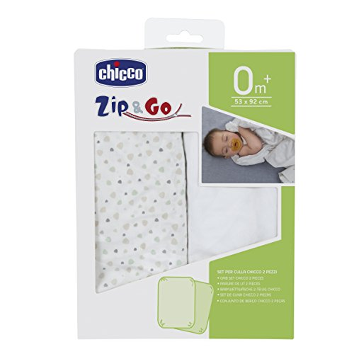 Chicco Zip & Go Set de 2sábanas bajeras, color gris claro