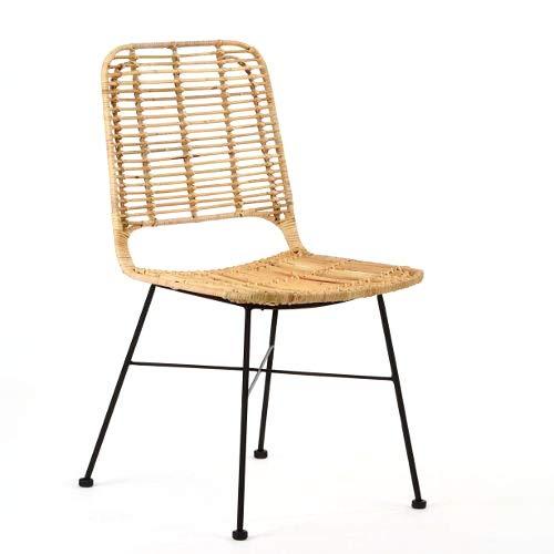 animal-design Chaise en rotin Lilly (60001) - Design moderne - Pour salle à manger, cuisine, bistro, balcon, terrasse
