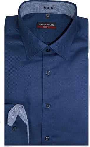 Marvelis Body Fit Extra Langer Arm 69cm bügelleicht- blau Struktur mit Besatz Reine Baumwolle, Größe:41