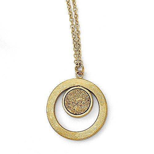 Collar de oro amarillo de 14 quilates con cierre de garra de langosta con acabado de rasguño redondo con poste amarillo Druzy colgante para joyas para mujeres – 43 centímetros