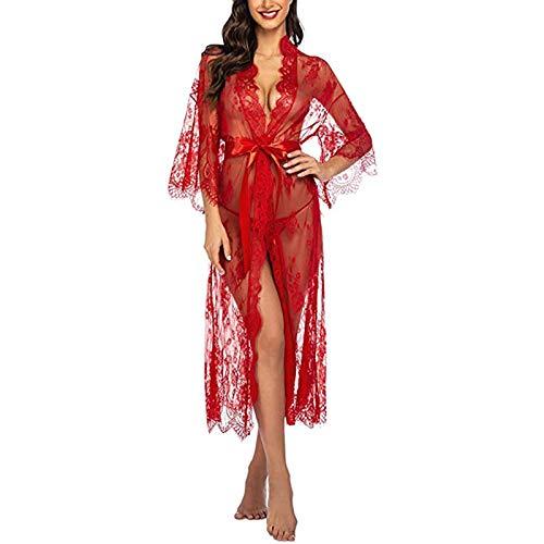 Yiyu Damen Dessous Kleid Lang Kimono Spitze Negligee Nachtwäsche Transparente Robe Set Cardigan Mit Gürtel Und G-String Bikini Cover Up x (Color : Red, Size : M)