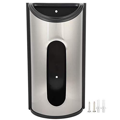 Dispensador de bolsas de plástico - Soporte de bolsas de plástico de acero inoxidable montado en la pared Caja de almacenamiento Dispensador Organizador para cocina(Color acero inoxidable)