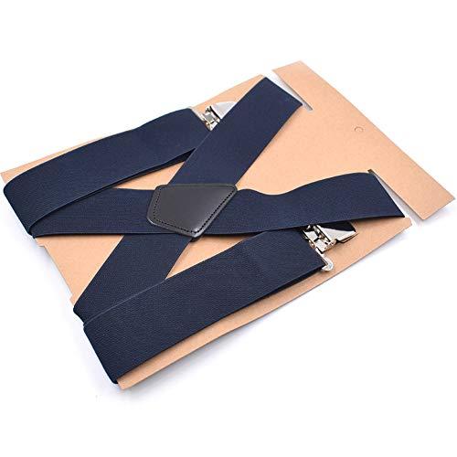 QHGao duurzaam, 5 cm breed, zwart, elastisch, verstelbaar, geschikt voor heren, bretels, broekbeugel, X-vorm, metalen clip, meerkleurig, 5 x 120 cm