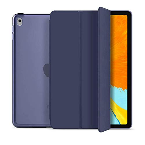 RKINC Case for iPad Air 2, PU Leather Trifold Stand Slim Fit Smart Cover [Auto Sleep/Wake] with Hard Back Case for Apple iPad Air 2 (2nd Gen 2014 Model)(A1566 A1567)(Navy Blue)