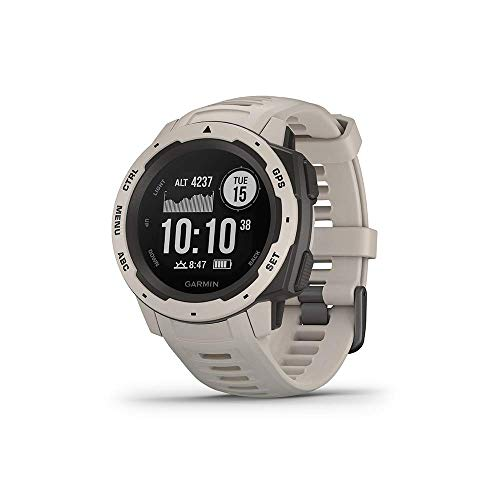 """Garmin 010-02064-01 Instinct, Rugged Outdoor Watch with GPS, Features GLONASS and Galileo, Heart Rate Monitoring and 3-axis Compass, Tundra, 1.27"""" (Certified Refurbished)"""