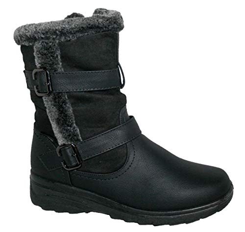 Women Snow Boots Ladies Warm Snug Fashion Comfort Snow Ice Ankle Boots (5, Black ACE)