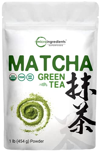 Micro Ingredients Organic Matcha Green Tea Powder, 1 Pound (16 Ounce), 100% Pure Matcha for Smoothies, Latte and Baking, Non-GMO and Vegan