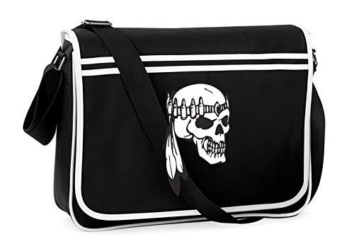 Druckerlebnis24 Schultertasche - Totenschädel Mit Patronen Band - Umhängetasche, geeignet für Schule Uni Laptop Arbeit