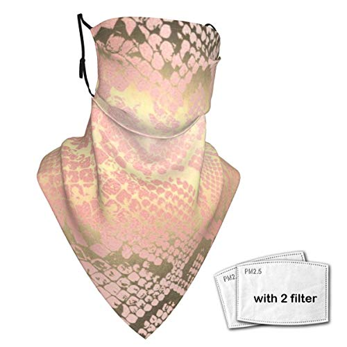 Neck Gaiter Face Scarf Bandanas Wind Sun Protection, Contemporary Gold Pink White Python Snake Skin Multi-Purpose Cloth mask Balaclava for Outdoor Hiking Cycling Running