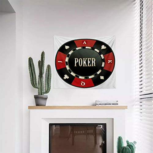 Miles Ralph Poker Tournament Tapestry Wall Hanging Ornament Casino Chip with Poker Word in Center Rich Icon Card Suits Print Decorative Tapestry Wall Hanging 59.1'x59.1' Vermilion Army Green