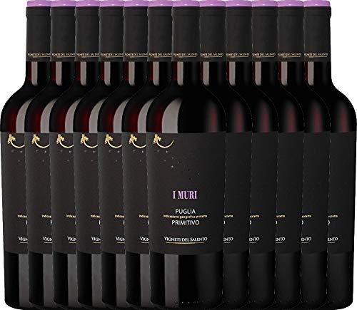 12er Paket - I Muri Primitivo Puglia IGP 2018 - Vigneti del Salento mit VINELLO.weinausgießer | trockener Rotwein | italienischer Wein aus Apulien | 12 x 0,75 Liter