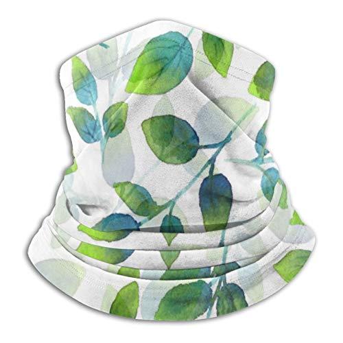 Pañuelo de cuello con patrón de hojas, color verde aguamarina