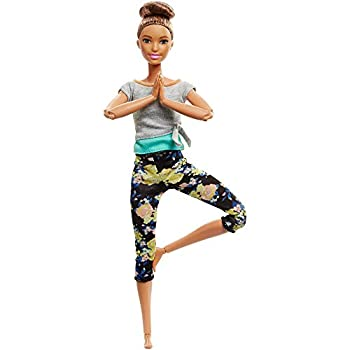 Barbie Made to Move Dolls with 22 Joints and Yoga Clothes Floral Blue
