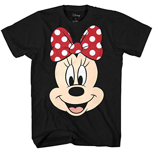 Disney Classic Character Face Costume T-Shirt (Minnie Mouse, Black, X-Large)