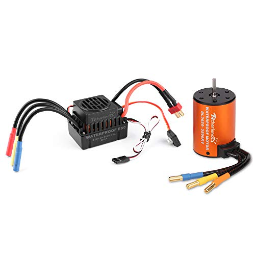 Rcharlance 3650 3500KV Brushless Motor 3.175mm Sensorless with 60A ESC Brushless Waterproof Electronic Speed Controller Combo Set Upgrade Power System for 1/10 RC Car Boat